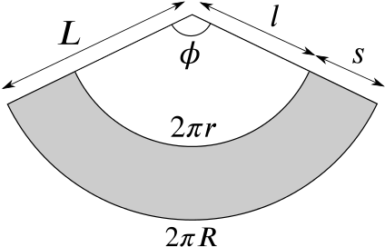 Unwrapped frustum with its lengths labelled.