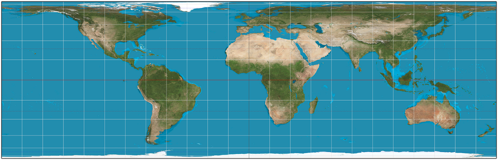 Projection of the world map to a cylinder.