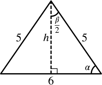 a triangle, with sides 5, 5 and 6, bisected