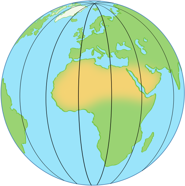 The globe with lines of longitude marked.