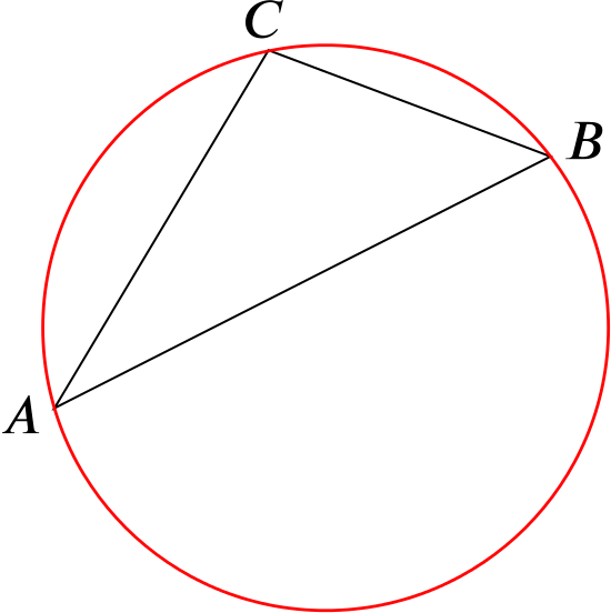 Triangle A B C with its circumcircle shown
