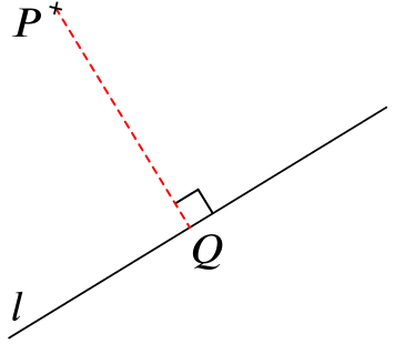 A horizontal line l, with a point P drawn above it, and the perpendicular from P to l drawn, meeting l at the point Q.