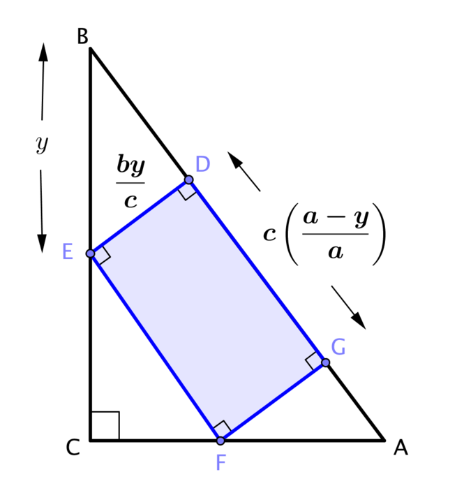 The triangle and recangle diagram and several lengths labelled.