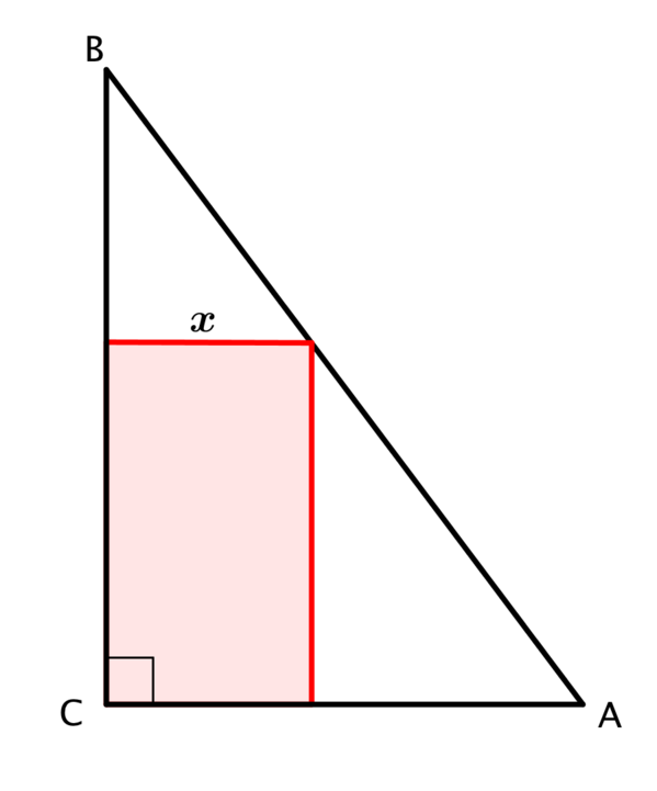 The length of the side parallel to C A is x.