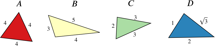 Diagram shows triangles A with sides 4,4,4, B with sides 3,4,5, C with sides 3,3,2 and D with sides 2,root 3,1