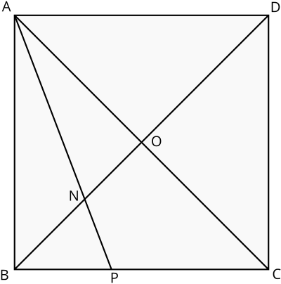 Square A,B,C,D with diagonals and bisector line of angle BAC added