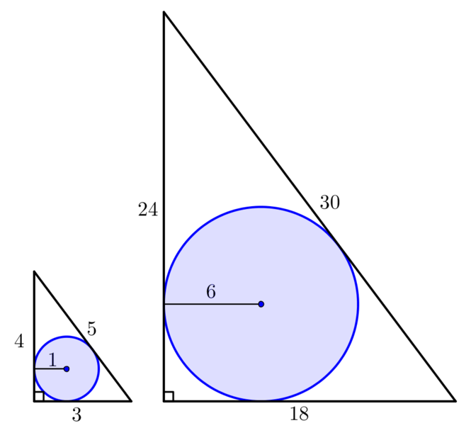 Diagram shows two similar constructions with circles of radius 1 and 6 respectively