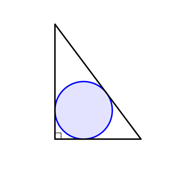 Diagram shows blue circle inside a right-angled triangle, touching in 3 places