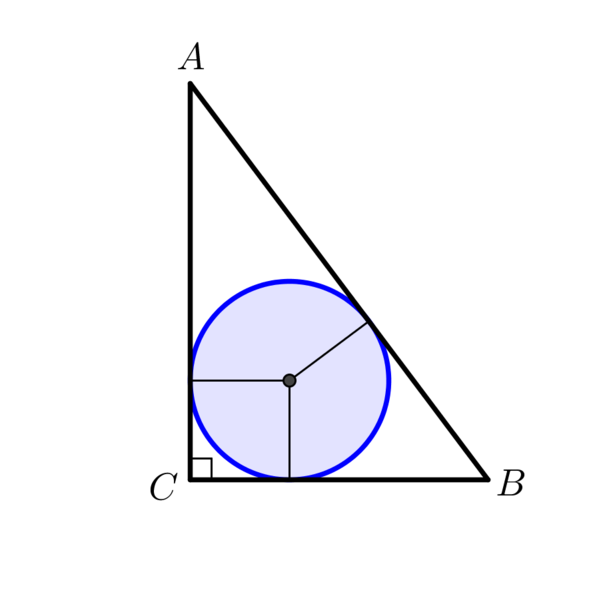Triangle now has vertices A,B,C and three perpendiculars have been added that touch at the centre of the circle