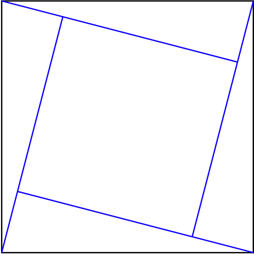 Square shown to be cut into 4 triangles and 1 square