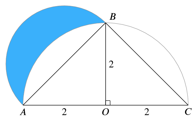 Isosceles triangle A,B,C with base AC=4 and height 2. Semi-circular arcs are added from A to C and A to B respectively