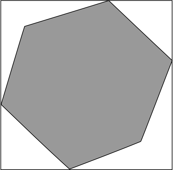 a regular hexagon inscribed in a square