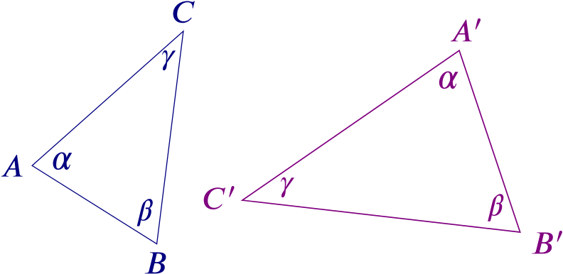 Two triangles, ABC and A-dash B-dash C-dash, with the same set of angles.
