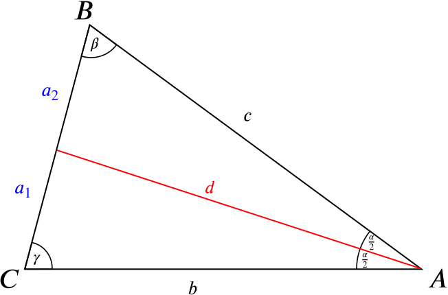 Triangle with the internal bisector of one angle