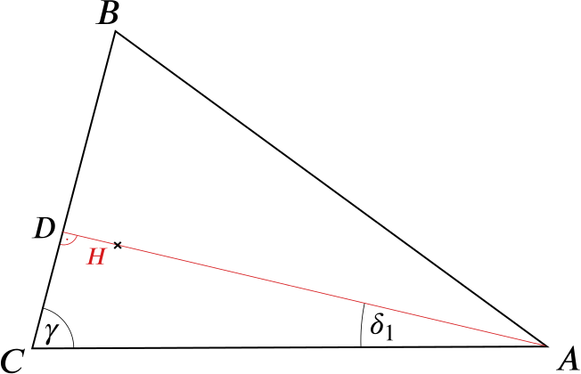 Triangle with orthocentre