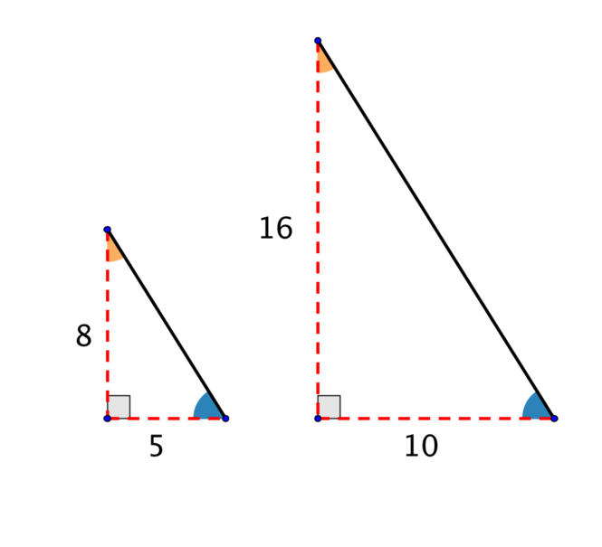 showing similar triangles with sides 5 and 8, and 10 and 16