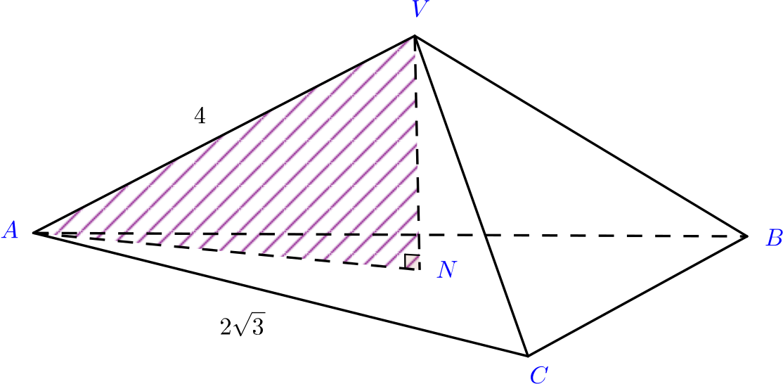 The triangle VAN highlighted within the pyramid. Lengths are as follows: VN = 2, AN = 2 root 3, AV = 4.