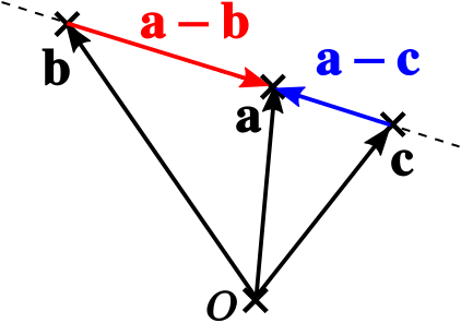 Vectors connecting three collinear points