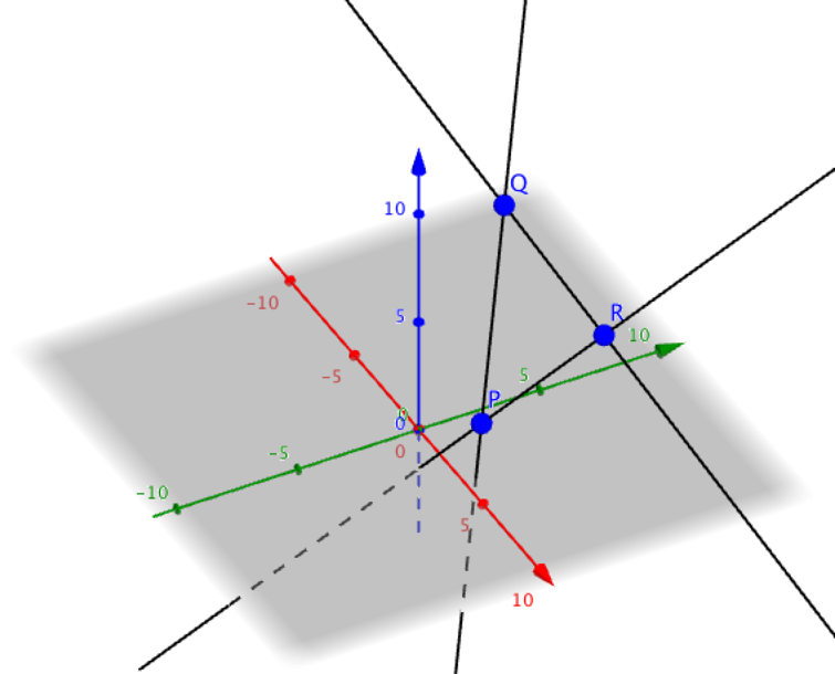 three lines in 3D intersecting at points P, Q and R